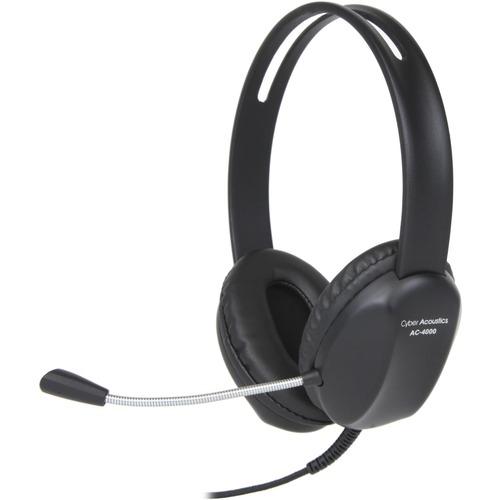 Cyber Acoustics AC-4000 Headset - Stereo - Mini-phone (3.5mm) - Wired - Over-the-head - Binaural FLEX MIC BRAIDED CORD COR