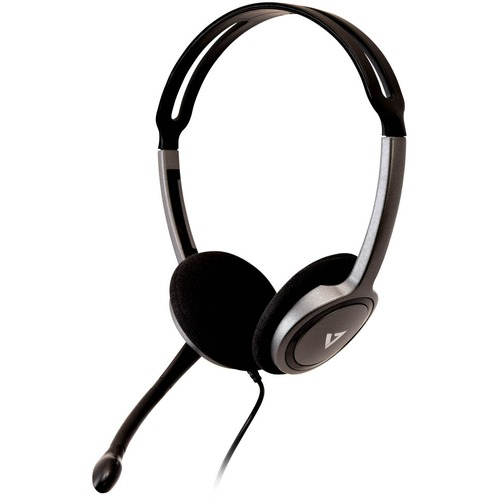 V7 Lightweight Stereo Headset with Microphone - Stereo - Mini-phone (3.5mm) - Wired - 32 Ohm - 20 Hz - 20 kHz - Over-the-h