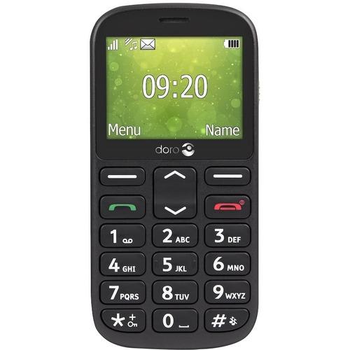 "Téléphone portable standard Doro 1360 - 2G - Écran 6,1 cm (2,4"") LCD 240 x 320 - 8 Mo RAM - Noir - Barre - 2 Support de SI"