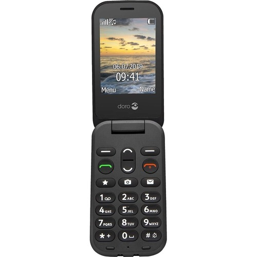 Téléphone portable standard Doro 6040 - Écran - Écran QVGA 320 x 240 - Noir - Flip - 1 Support de SIM - Sans SIM - Rear Ca