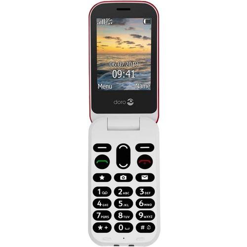 Téléphone portable standard Doro 6040 - Écran - Écran QVGA 320 x 240 - Rouge, Blanc - Flip - 1 Support de SIM - Sans SIM -