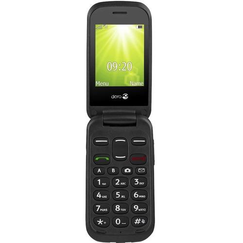 "Téléphone portable standard Doro 2404 - 2G - Écran 6,1 cm (2,4"") Active Matrix TFT LCD 320 x 240 - 16 Mo RAM - Noir - Flip"