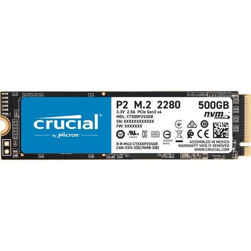 SSD Crucial P2 CT500P2SSD8 - M.2 2280 Interne - 500 Go - PCI Express NVMe (PCI Express NVMe 3.0 x4) - 2300 Mo/s Taux de tr