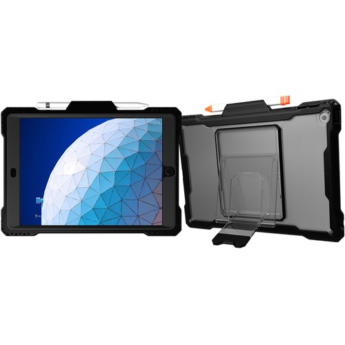 """MAXCases Shield Extreme-X With Pencil Holder For iPad 7 10.2"""" (Black) - For Apple, Logitech Tablet - Textured, Triangle De"""