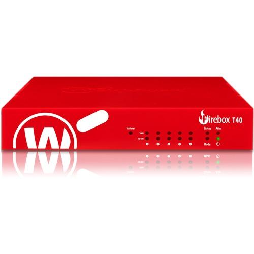 WatchGuard Firebox T40 Network Security/Firewall Appliance - 5 Port - 1000Base-T - Gigabit Ethernet - 4 x RJ-45 - 3 Year S