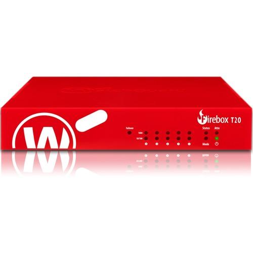 WatchGuard Firebox T20 Network Security/Firewall Appliance - 5 Port - 1000Base-T - Gigabit Ethernet - 5 x RJ-45 - 3 Year T