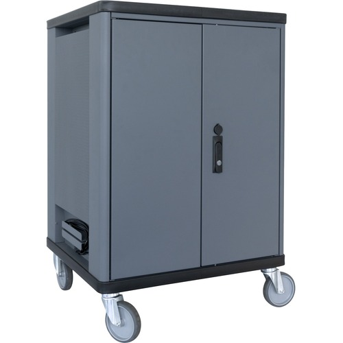 """V7 Charge Cart - 36 Devices with Intelligent Charging - US Power - Recessed Handle - 4 Casters - 5"""" Caster Size - Cold-rol"""