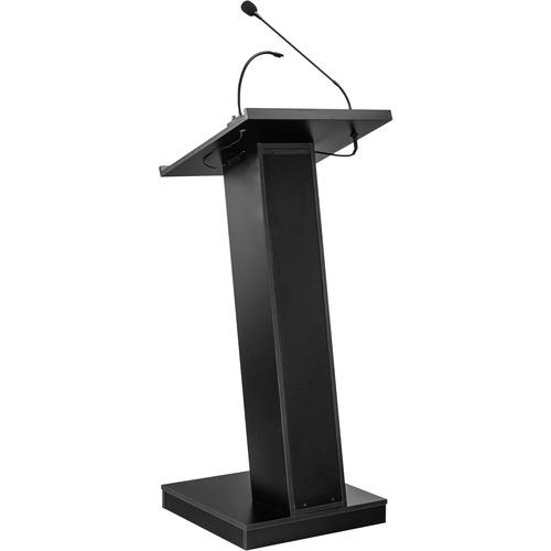 Oklahoma ZED Lectern with Speaker - Black - High Pressure Laminate (HPL), Medium Density Fiberboard (MDF), Steel WITH TWO