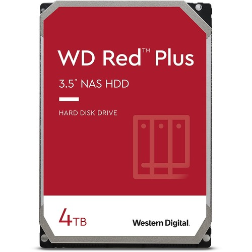 """WD Red Plus WD40EFZX 4 TB Hard Drive - 3.5"""" Internal - SATA (SATA/600) - Conventional Magnetic Recording (CMR) Method - St"""