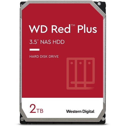 """WD Red Plus WD20EFZX 2 TB Hard Drive - 3.5"""" Internal - SATA (SATA/600) - Storage System Device Supported - 5400rpm - 3 Yea"""