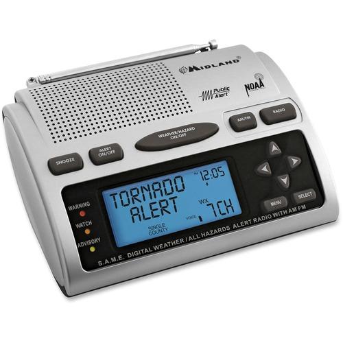 Midland WR-300 Clock Radio - 2 x Alarm - AM, FM S.A.M.E. 23 COUNTIES 4XAA BACK UP